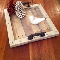 Reclaimed Grey Driftwood Pallet Wood Serving Tray with Metal Handles