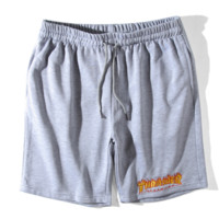 Thrasher New fashion flame embroidery letter shorts couple casual sports shorts Gray
