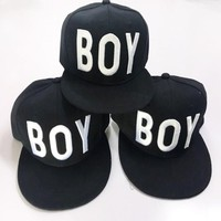 London Boy New fashion embroidery letter couple cap hat Black