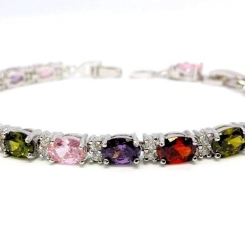 Multicolor Oval Austrian Crystal 18K White Gold Plated Tennis Bracelet for Women in White Gold with Extender