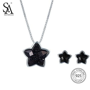 SA SILVERAGE 925 Sterling Silver Jewelry Sets Stud Earrings Necklaces Pendants Fine Jewelry 925 Silver Maxi Necklace Earrings