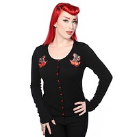 Rockabilly Pinup Cherry Love Black knit Cardigan