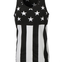 LE3NO Mens Hipster Stripes and Stars Patriotic Tank Top (CLEARANCE)