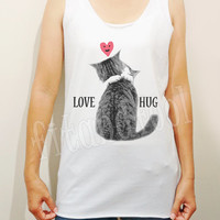 Love Cat TShirts Meow Shirts I like Cats Shirts Heart Shirts Unisex Shirts Women Shirt Women Tank Top Women Tunic Women Sleeves - Size S M L