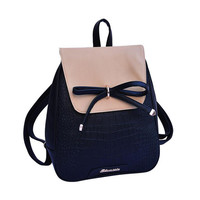 2015 women backpacks bow brand pu leather backpack travel casual bags high quality girls school bag for teenagers 640t