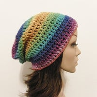 LazyDay Slouch Beanie  Psychedelic Version Two by ReeniesCrochet