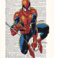 Spiderman - Art Superhero Art Poster- Dictionary Print Page Art- Gift Print On Dictionary Book Page- Home Dorm, Wall Decor