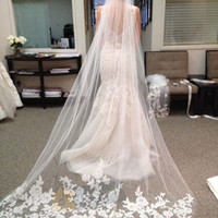white/Ivory Beautiful Cathedral Length Lace Edge Wedding Bridal Veil With Comb = 1932135684