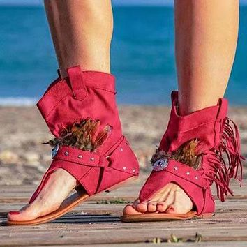 Women's Sandals Clip Toe Ladies Boots Casual Shoes For Women Tassel Gladiator Female Slippers Woman Sandales