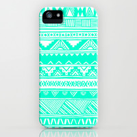 Turquoise White Tribal Geometric Pattern  iPhone & iPod Case by hyakume