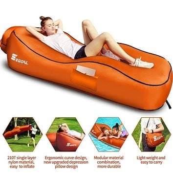 2020 Ergonomic Inflatable Lounger Beach Bed Camping Chair Air Sofa Couch Hammock with Pillow, Waterproof Anti-Air Leaking Single Layer Nylon Fabric for Hiking Travel Beach Park, No Pump Required