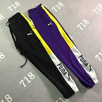 PUMA Stylish Women Men Casual Personality Color Matching Logo Print Drawstring Sport Stretch Pants Trousers Sweatpants I-XMCP-YC