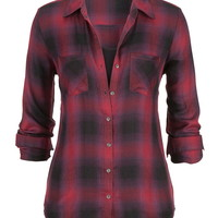 Button Back Plaid Shirt - Burgundy Combo