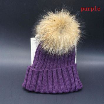 CREYU3C Trendy Unisex Men Women Winter Fur Cap Hat Baggy Beanie Knit Crochet Ski Oversized Slouch Cap Accessories