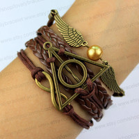 Wings of gold jewelry, harry potter, infinity bracelets, brown bronze infinite gift for my boyfriend and girlfriend