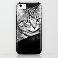 Kitten iPhone Case iPod Touch 5c 5s 4 4s 3g 3gs Samsung Galaxy Hard Phone Cover Fine Art black and white Cat lover kitty lolcat Unique Gift