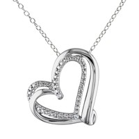 Sterling Silver Heart Pendant Necklace (White)