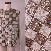 Vintage 60s - Checkered Silver & White Sequins - Pearl Beaded Cowl Rolled Portrait Collar - Sleeveless Tank Sweater Blouse Top - Jackie O