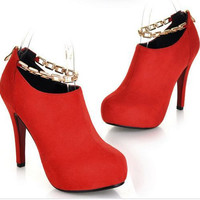 2015 new European and American women's high-heeled shoes matte material chain round Women pumps platform