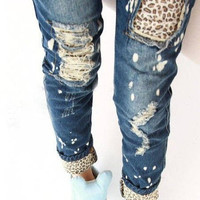 Leopard patched distressed jeans
