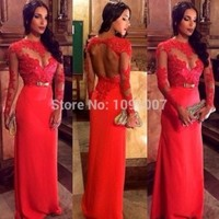 Vintage Vestidos Chiffon Sheer Red Long Sleeve Evening Gowns Prom Dresses Open Back