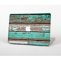 "The Chipped Teal Paint On Wood Skin Set for the Apple MacBook Pro 13""   (A1278)"
