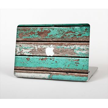 """The Chipped Teal Paint On Wood Skin Set for the Apple MacBook Pro 13""""   (A1278)"""
