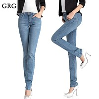 Free Shipping High Quality Women's Small Straight Jeans Girls High Waist  Long Pants Lady's Fashion Pencil Trousers 26-34