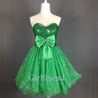 Cute green tulle handmade short prom dress, bridesmaid dress, party dress with bow