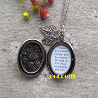 Always My Mommy Mother Gift Mother Necklace I'll Love You Forever Quote Locket Necklace leaf flower Necklace