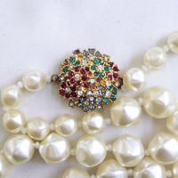 Single Strand Satin White Faux Pearls Necklace with Multi-Color Rhinestone Clasp Vintage
