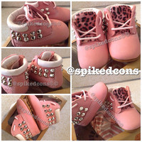 Infant timberlands wheat or pink soft bottom