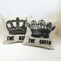 """""""Square Linen Crown Cushion Cover Printed Letters The Queen The King Decorative Sofa Pillow Case Home Car Decor Free Shipping"""