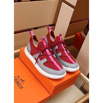 HERMES Men Fashion Boots fashionable Casual leather Breathable Sneakers Running Shoes0505qh