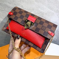 Hipgirls LV New Fashion Tartan Leather Shopping Leisure Chain Shoulder Bag Crossbody Bag