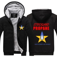 2016 New arrived Mens hoodie King of the Hill Thicken Fleece Strickland propane Winter Coat US EU Plus Size