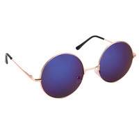 Retro Round Sunglasses Men Women Designer Reflective Small Round Metal Frame Sunglasses 12 Colors For Cycling Hiking Camping