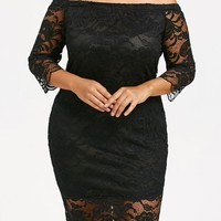Off The Shoulder Plus Size Lace Dress