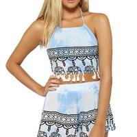 Wink Gal Women's 2 Pieces Strapless Backless Fringed Crop Top Shorts Colour Blue Size S