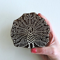 Indian Peacock Stamp: Large Wooden Printing Block, Hand Carved Wood Bird Stamp,Textile Stamp, Ceramic Tile Pottery Clay Stamp, India Decor