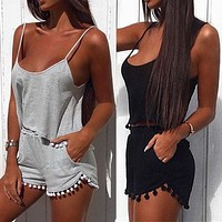 Fashion Casual Solid Color Sleeveless Short Vest Set Two-Piece Sportswear