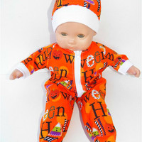 American Girl Bitty Baby Clothes  15 inch Doll Clothes Boy or Girl Orange Halloween Candy Corn Print Zip Up Pajamas and Hat