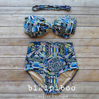 Bow Bandeau Bikini - Vintage Style High Waisted Pin-up Swimwear - Amazing Abstract Print - Unique & So Cute!