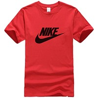 NIKE Popular Women Men Casual Print Round Collar T-Shirt Top Red