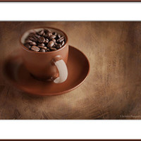 Coffee beans photograph, rustic kitchen wall art, still life photo print, fine art print, brown wall decor print, coffee photography