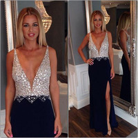 Hot Sexy Deep V Neck Backless Prom Dresses 2016 Beading Sequins Royal Blue Formal Evening Dress High Split