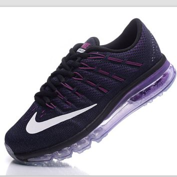 """NIKE"" Trending AirMax Toe Cap hook section knited Fashion Casual Sports Shoes Black purple(light purple soles)"
