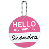 Shandra Hello My Name Is Round ID Card Luggage Tag