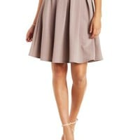 Taupe Textured & Pleated Full Midi Skirt by Charlotte Russe