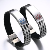 Blue and Red Medical Alert ID bracelet stainless steel and black silicone chain for mam and woman